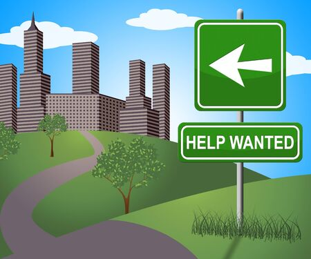 Help Wanted Sign Displaying Employment 3d Illustration