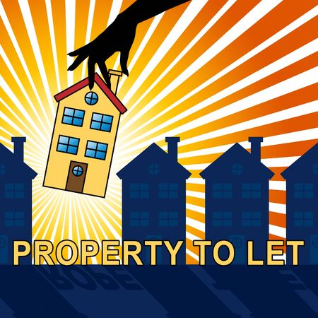 PropertyTo Let House Shows For Rent 3d Illustration Stock Photo