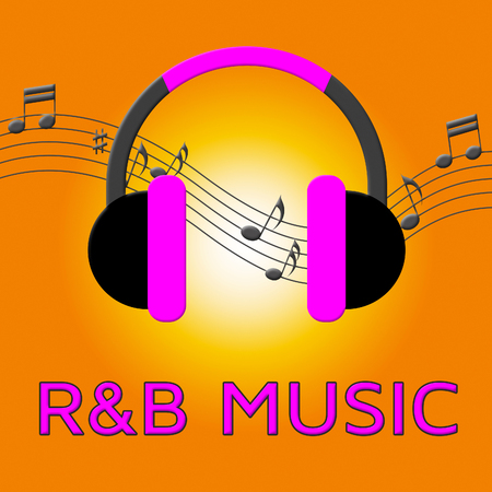 R&B Music Earphones Means Rhythm And Blues 3d Illustration Stock Photo