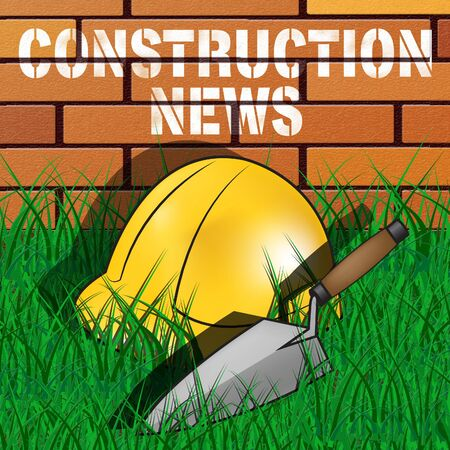 Construction News Builders Hat Wall Means Information 3d Illustration