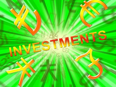 Investment Symbols Showing Trade Investing 3d Illustration Banco de Imagens