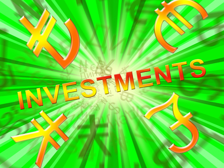 Investment Symbols Showing Trade Investing 3d Illustration Stock Photo