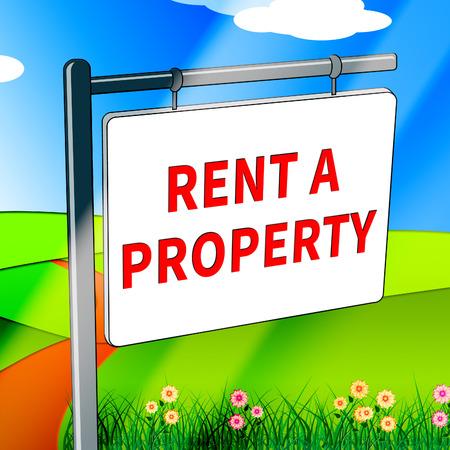rentals: Rent A Property Showing House Rentals 3d Illustration