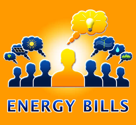 Energy Bills People Showing Electric Power 3d Illustration