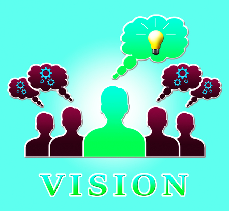 Vision People Bulb Showing Corporate Planning 3d Illustration