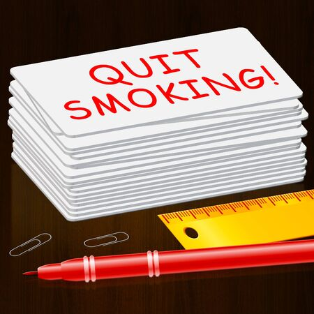 quit: Quit Smoking Meaning Stop Cigarettes 3d Illustration