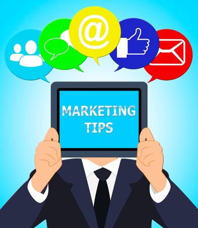 emarketing: Marketing Tips Shows EMarketing Advice 3d Illustration