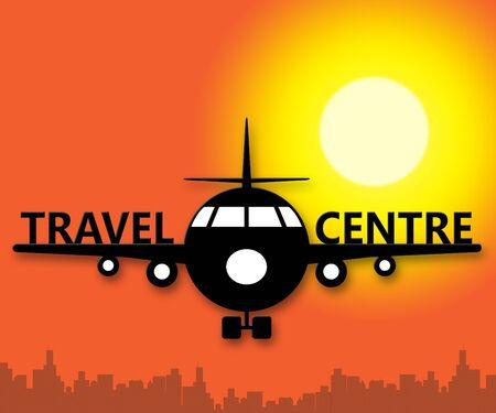 Travel Centre Plane Representing Holiday Agencies 3d Illustration