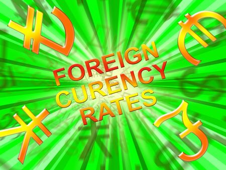 Foreign Exchange Rates Symbols Means Forex 3d Illustration Banco de Imagens