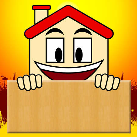 Blank House Sign Shows Home Copyspace 3d Illustration
