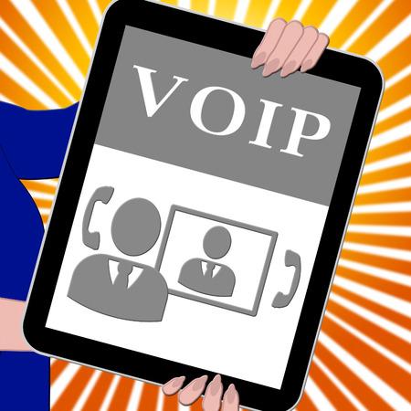 Voip Tablet Showing Internet Voice 3d Illustration