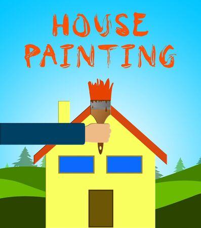 Home Painting Paintbrush Means Home Painter 3d Illustration