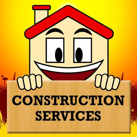 Construction Services Showing Building Work 3d Illustration Stock Photo