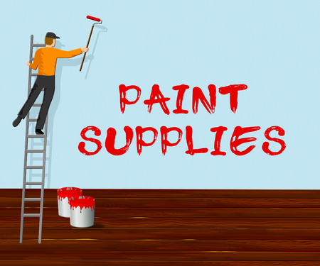 Paint Supplies Showing Painting Product 3d Illustration