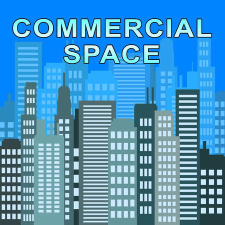 Commercial Space Skyscrapers Describes Real Estate Offices 3d Illustration Stock Photo