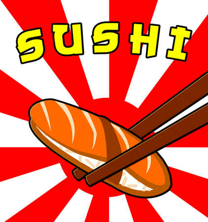 japanese cuisine: Sushi Fish Shows Japan Cuisine 3d Illustration