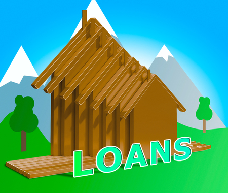 borrowing: House Loans Houses Shows Home Borrowing Repayments 3d Illustration Stock Photo