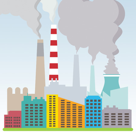 Polluted Factory Shows Refinery Smog Pollution 3d Illustration Stock Photo