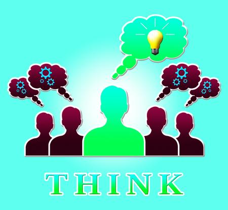 Think People Lightbulb Representing Idea Reflection 3d Illustration Stock Photo