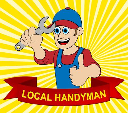 Local Handyman Man Displays Neighborhood Builder 3d Illustration