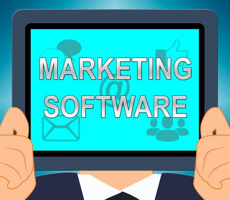 Marketing Software Tablet Showing Promo Apps 3d Illustration