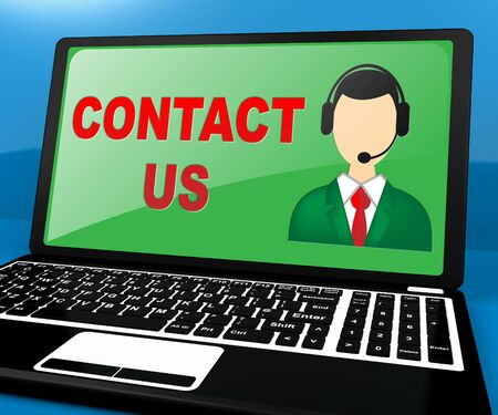 Contact Us Laptop Meaning Customer Service 3d Illustration