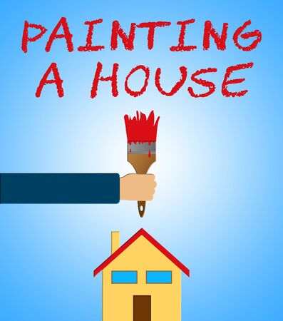 Painting A House Paintbrush Means Home Painter 3d Illustration