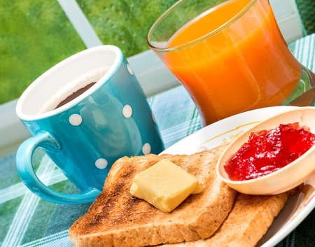 Toasts And Jam Indicating Toasted Bread And Food
