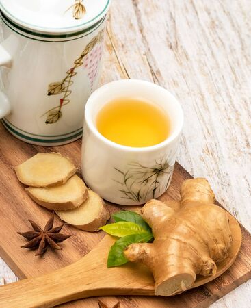 Healthy Ginger Tea Representing Well Natural And Refresh Banco de Imagens