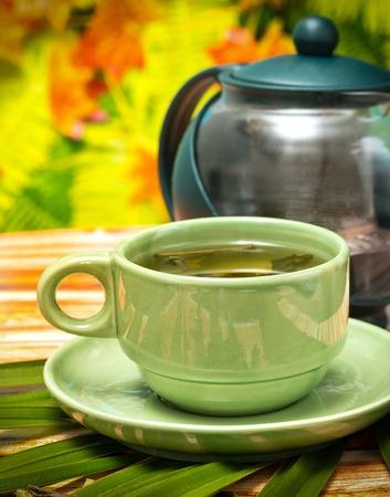 Outdoor Green Tea Representing Cafe Restaurants And Drinks