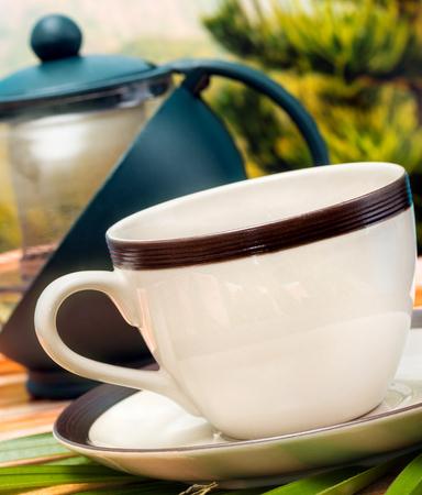Green Tea Cup Representing Refreshing Beverage And Drink Banco de Imagens