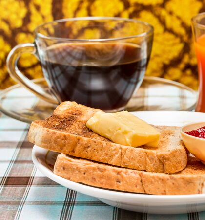 Butter Toast Showing Morning Meal And Toasted 写真素材