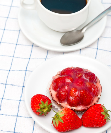 Coffee And Desert Meaning Strawberry Tart Pie And Strawberry Tart Pie Stock fotó
