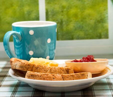 Toast For Breakfast Showing Toasted Bread And Food