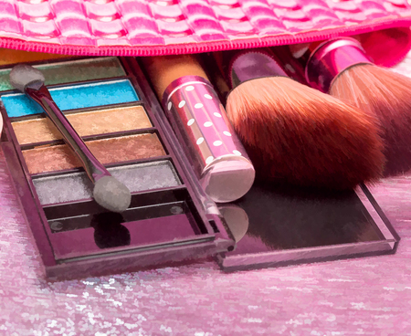 Cosmetic Makeups Indicates Beauty Products And Facial Banco de Imagens