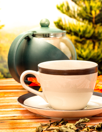 Cup Of Tea Indicating Restaurant Refresh And Beverages Banco de Imagens