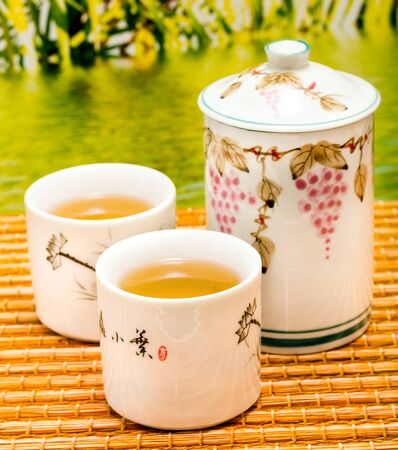 Outdoor Green Tea Showing Break Time And Drinks