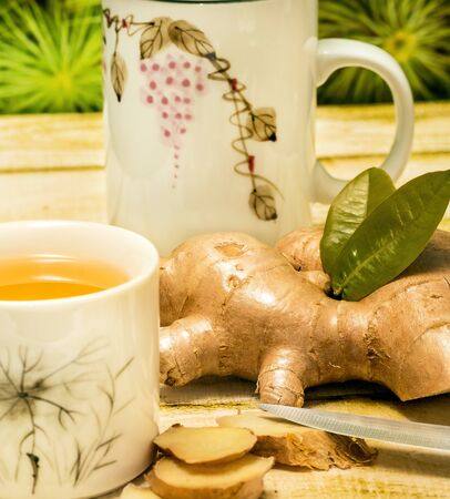 Outdoor Ginger Tea Meaning Refresh Refreshments And Herbal Stock Photo