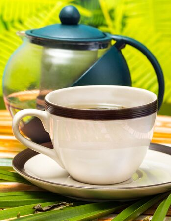 Tea On Patio Meaning Refreshes Drinks And Refreshed Banco de Imagens