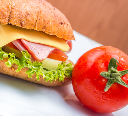 Sandwich Ham Cheese Representing Bread Roll And Loaf