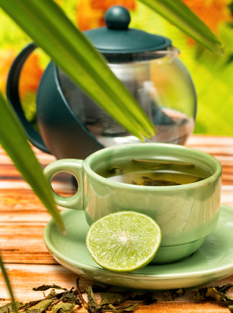 Refreshing Lime Tea Showing Drink Fruit And Refreshment Banco de Imagens