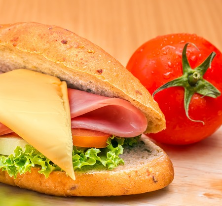 Sandwich Ham Cheese Showing Bread Roll And Baguettes