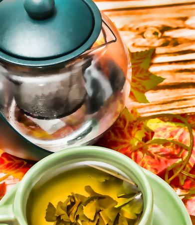 Tea Refreshment Showing Drinks Fruits And Cafes Banco de Imagens