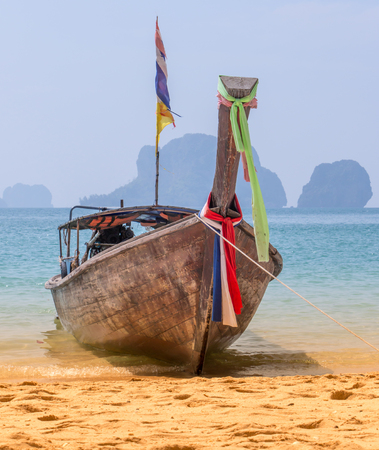 Long Tail Boat On The Beach In Thailand Stock Photo
