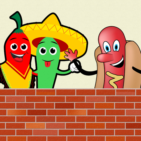 Mexican Chilli With American Hot Dog Wall 3d Illustration