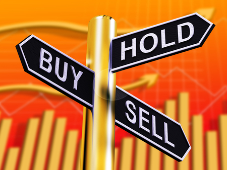 Buy Hold And Sell Signpost Represents Stocks 3d Illustration