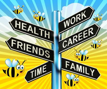 Health Work Career Friends Signpost Shows Life 3d Illustration
