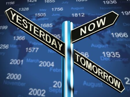 Yesterday Now Tomorrow Signpost Showing Schedule Diary 3d Illustration