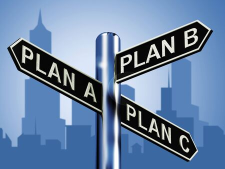 Plan A B or C Choice Showing Strategy Change 3d Illustration