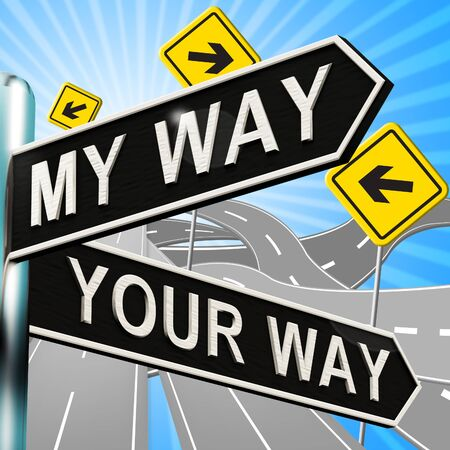 My Or Your Way Signpost Shows Conflict 3d Illustration